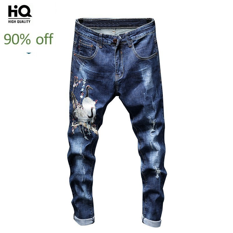 2020 New Designer Embroidered Jeans Men's Streetwear Hip Hop Hole High Quality Male Slim Fit Straight Denim Pants Autumn Fashion