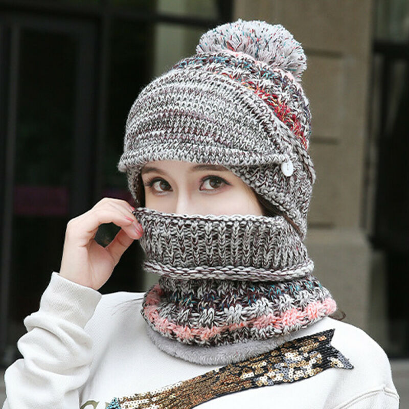 3 Pcs Sweet Cute 2019 Scarf And Hat Set Womens Warm Knitted Beanie Scarves Knit Skullcaps Winter Detachable