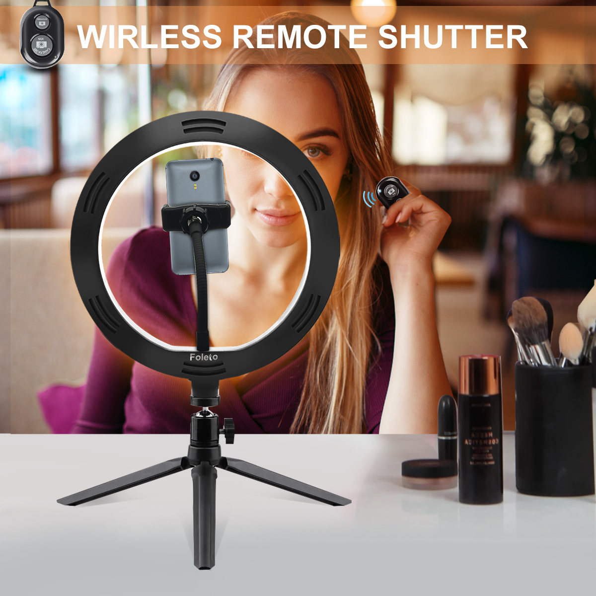 Rovtop 10 Inch Selfie Ring Light with Ring Stand for iPhone Tripod and Phone Holder for Video Photography 10