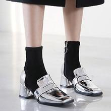 Stretch boots retro square head 2019 new autumn winter Martin female short Silver Black socks Womens boty