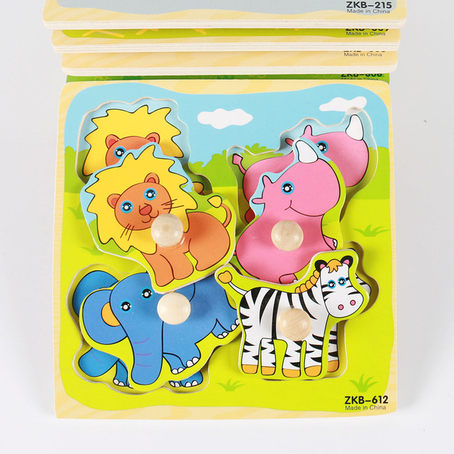 Kids Hand Grab Board 3D Puzzle Wooden Toys for Children Cartoon Animal Wood Jigsaw Toddler Baby Early Educational Learning Toy 4