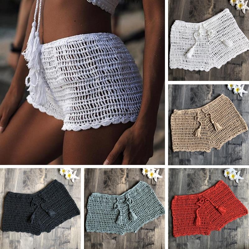 Sexy Summer Shorts 2019 Women Short Pant Sexy See Through Crochet Shorts Casual Black Beach Hot Shorts Sportwear Swimwear