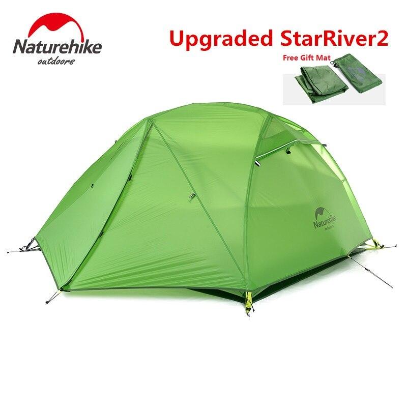 Naturehike fábrica Starriver2 20D tela de silicona impermeable de doble capa 2 personas 4 temporada varilla de aluminio tienda de acampar al aire libre