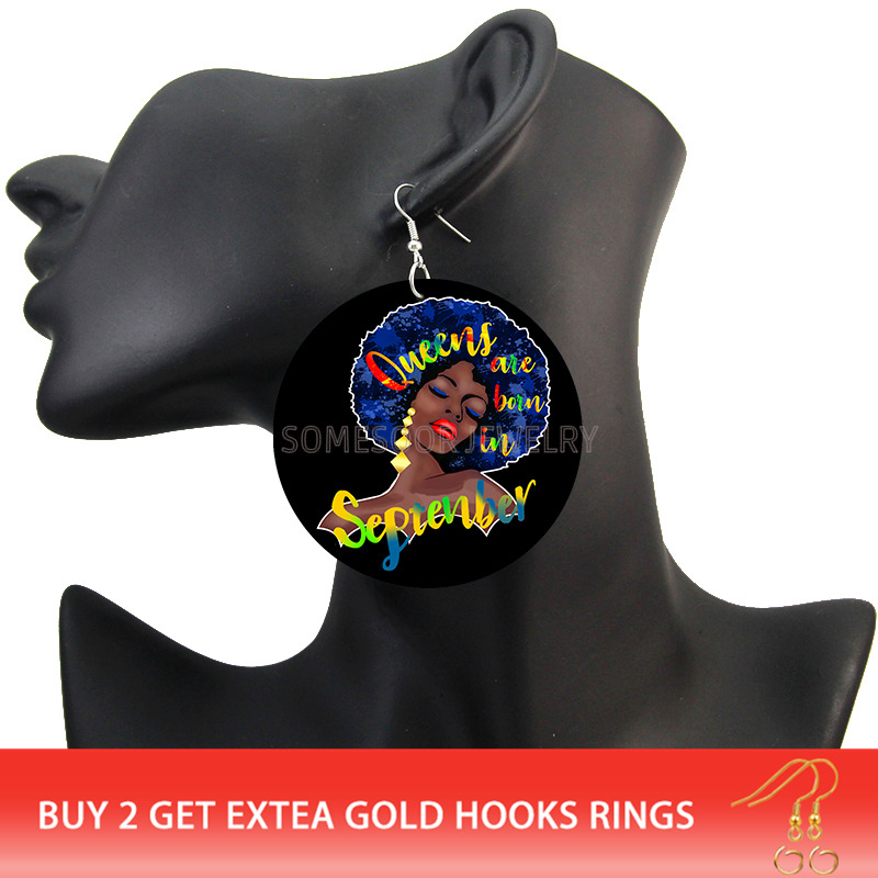 Birthday Month Queens Are Born In Large Wooden Earrings
