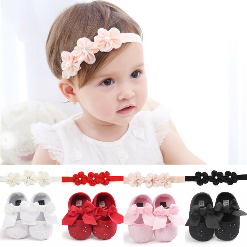 2pcs Infant Baby Girl Princess Bow Crib Flat Anti-slip Party Soft Sole Shoes Flower Headband Sets