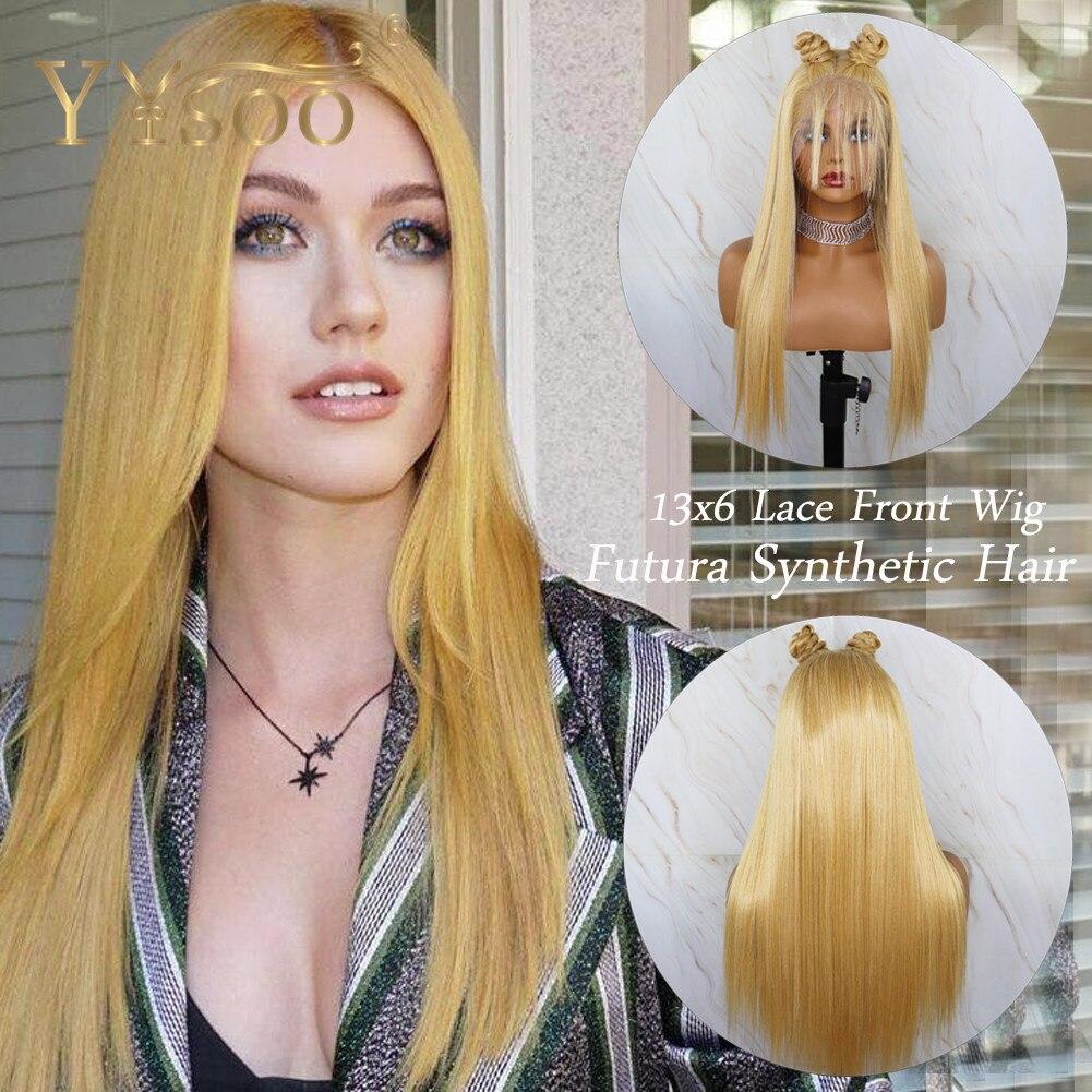 YYsoo 13х6 длинные шелковистые прямые парики из синтетических волос для женщин, жёлтый смешанный белый светлый парик шнурка термостойкий