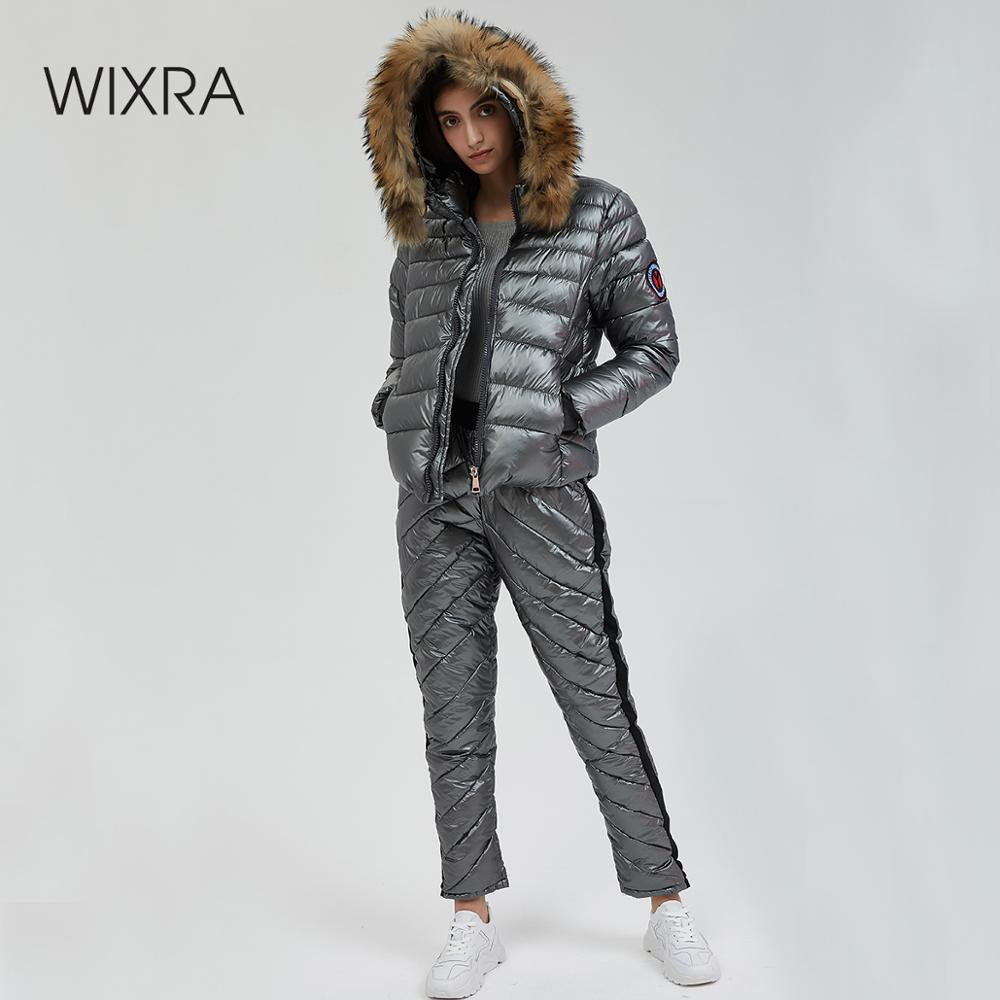 Wixra Winter Hooded Parka Suits 2 Piece Sets Elegant Warm Streetwear Ski Suit Straight Zipper Thick Women Casual Tracksuits