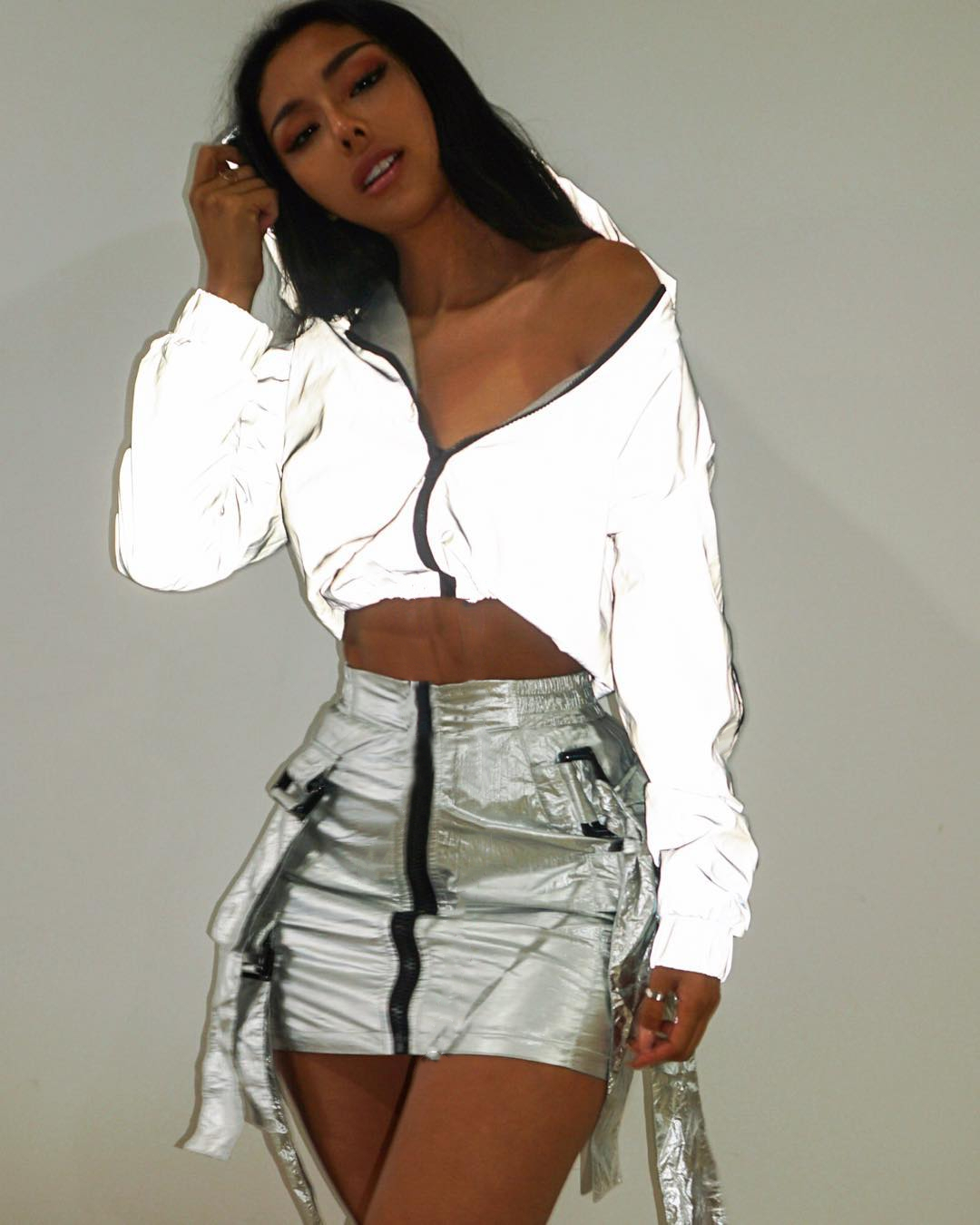 Fashion Women Zipper Hip Hop Crop Top Sweatshirts Streetwear Casual Loose Reflective Long Sleeve Hoodies