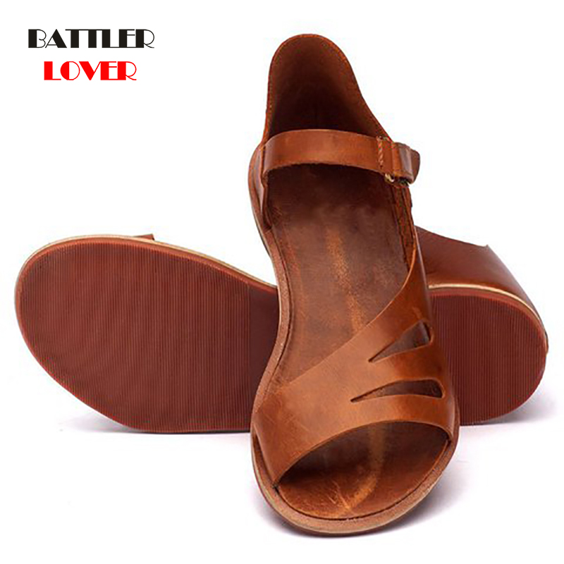 genuine leather shoes woman sandal flat heels women flat sandals casual shoes summer sandals women 2019 summer cow leather shoe