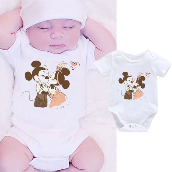 DERMSPE Cartoon Infant Newborn <font><b>Baby</b></font> Boy Girl Clothes <font><b>Body</b></font> Romper Outfit White Jumpsuit Short Sleeve Hot Sales image