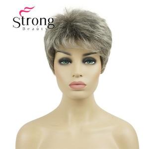 Image 1 - قوية الجمال قصيرة شعر مستعار الاصطناعية شقراء مع الفضة الباروكات الكاملة لسيدة النساء