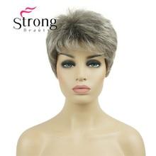 StrongBeauty Peluca de cabello sintético para mujer, cabello corto rubio con pelucas completas plateadas
