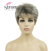 StrongBeauty Short Syntheic Hair Wig Blonde with Silver Full wigs for Lady Women