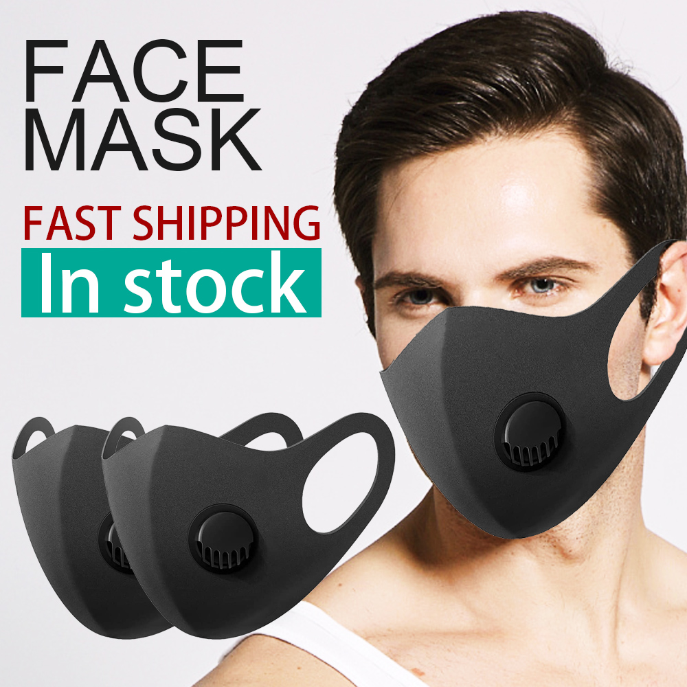 In Stock 50Pcs Dust Face Mask With Breathing Valve Anti Haze PM2.5 Mouth Mask Anti Pollution Reusable Washable Mask Fast Shiping
