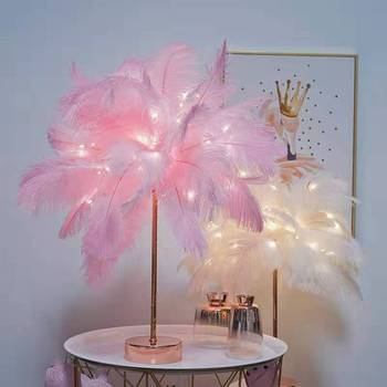 Modern style white natural Ostrich feathers feather Lights romantic feather led Table lamps for home restaurant bedroom Children