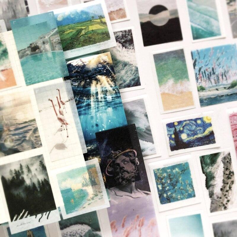 50 Pcs/pack Original Painting Vangoh Washi Stckers Set DIY Bullet Journal Sticker Diary Decorative Stationery Scrapbooking