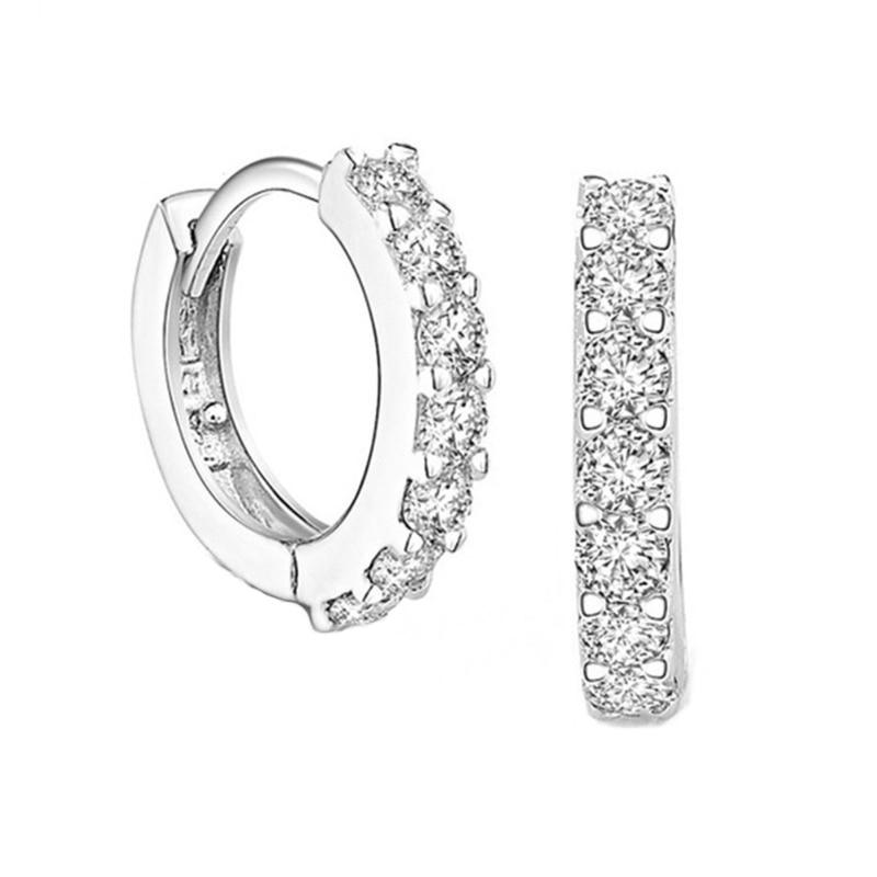 Крошечный модного серебристого цвета, круглые серьги-кольца с цельными круглыми кристаллами Циркон Серьги для женщин маленькие ювелирные ...
