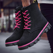 Hot Women Boots Flats Ankle Pu Leather Snow Boots Platform Shoes Woman Martin Boots Round Toe Fur Warm High Top Lace-up Non-slip women s boots genuine leather shoes new martin boots round toe buckle fashion boots motorcycle winter platform warm shoes boots