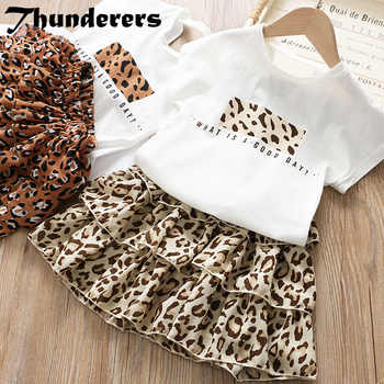 Thunderers Summer Girl Clothes Suit Cartoon Shirt With Leopard Skirt Toddler Baby 2pcs Outfits Casual Cotton Elegant Costume - DISCOUNT ITEM  40% OFF All Category