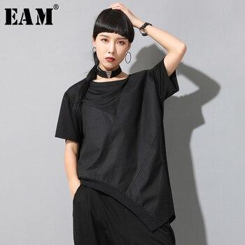 [EAM] camiseta de talla grande con articulación dividida Irregular negra para mujer, nueva Camiseta de cuello redondo de manga larga a la moda para primavera y verano 2020 1W050