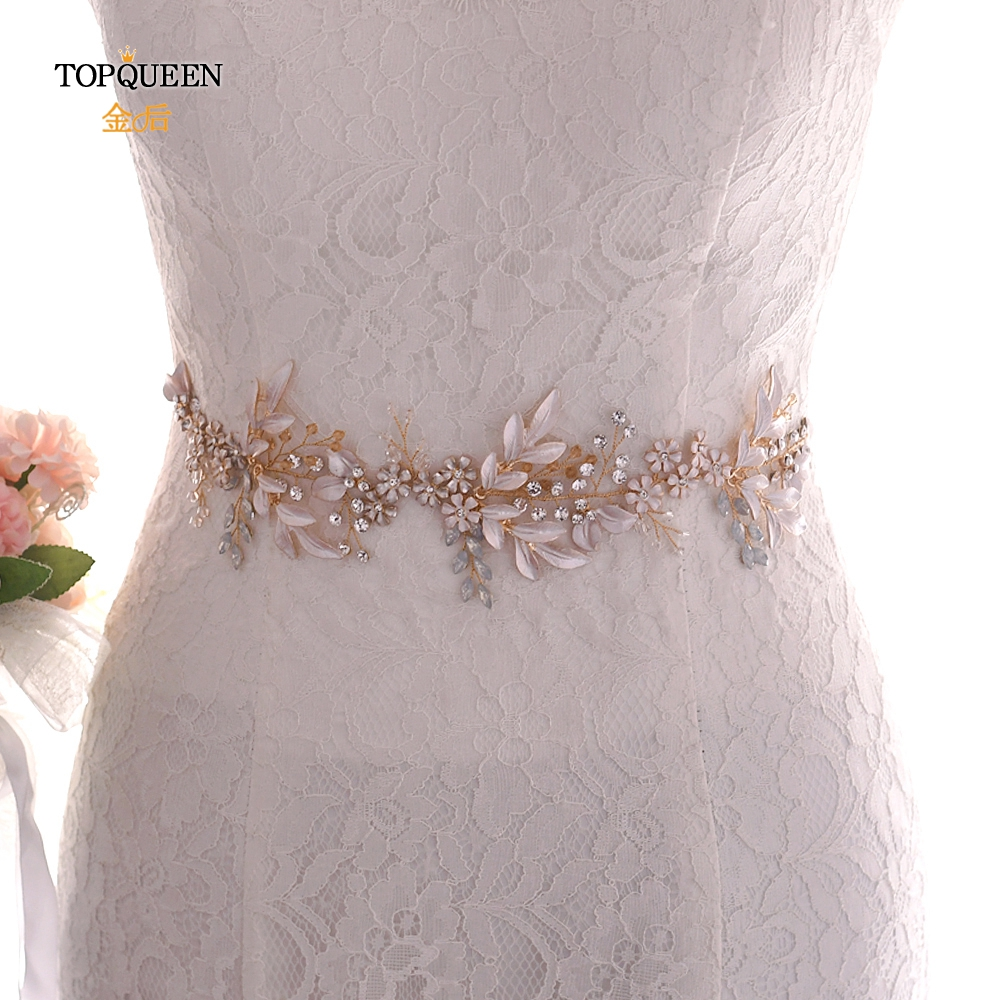 TOPQUEEN Wedding Belt Champagne Gold Womens Gold Belt Vintage Embellished Sash Red Rhinestone Sash Belts For Dresses SH278