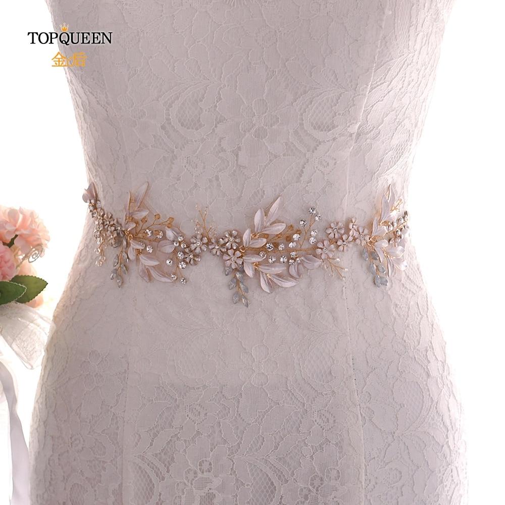 TOPQUEEN Wedding Belt Champagne Gold Womens Gold Belt Vintage Embellished Sash Red Rhinestone Sash Belts For Dresses SH278