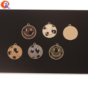 Image 2 - Design cordial 50 pçs 18*20mm acessórios de jóias/faça você mesmo/feito à mão/forma de rosto/efeito de impressão de leopardo/encantos/brincos achados