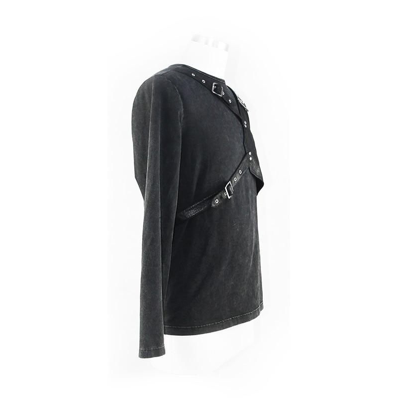Футболка для мужчин стимпанк Круглый вырез простой черный укороченный топ кожаный ремень для забавных Slim Fit Топы - 6