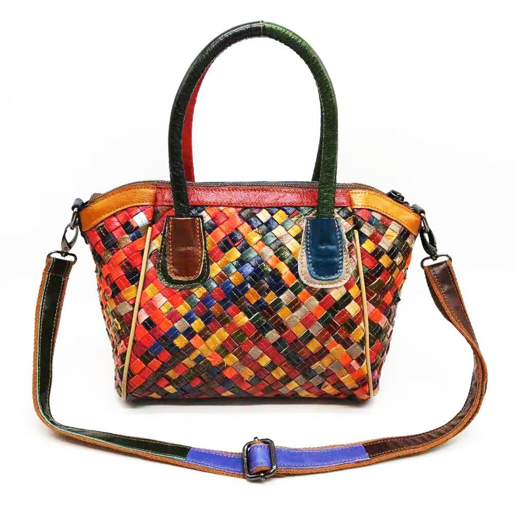 2020 Newest Female Bosal Sheepskin Braid Shoulder Bag Colorful Woven Top Handle Tote Bag Luxury Designer Handbag