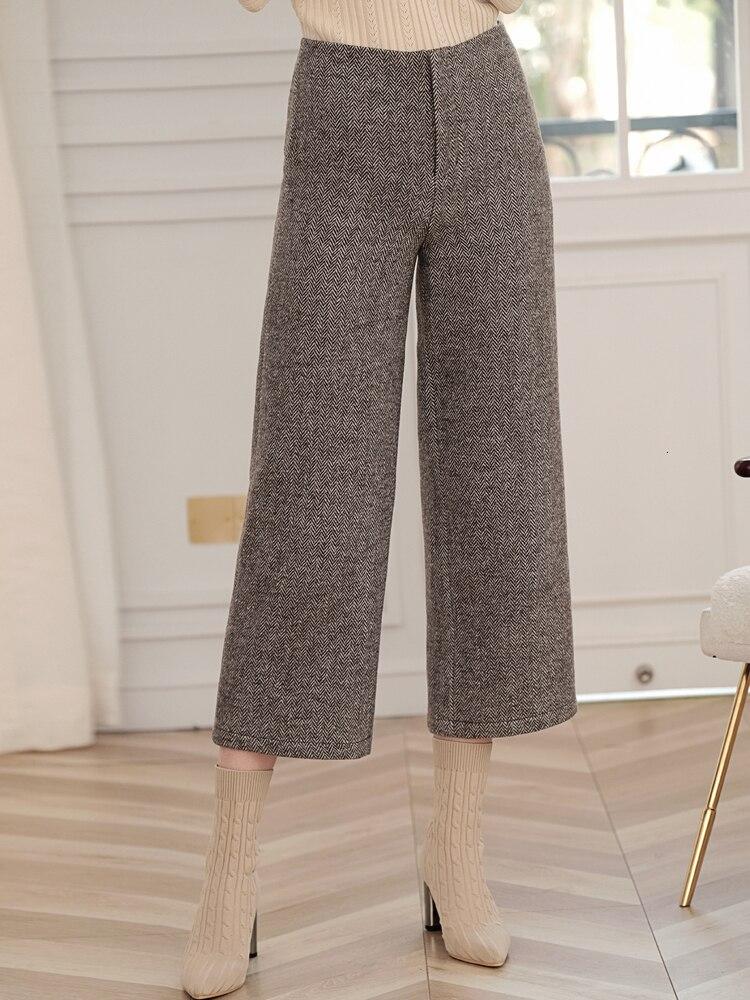 Vintage Wool Pants Suit Woman Elegant HIgh Quality Fashion Chic Double Breasted Blazer Coat Wide Leg Pants Pantsuit 2 Piece Set 41