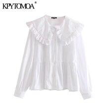 KPYTOMOA Frauen 2020 Süße Mode Mit Peter pan Kragen Rüschen Blusen Vintage Langarm Button-up Weibliche Shirts Chic tops
