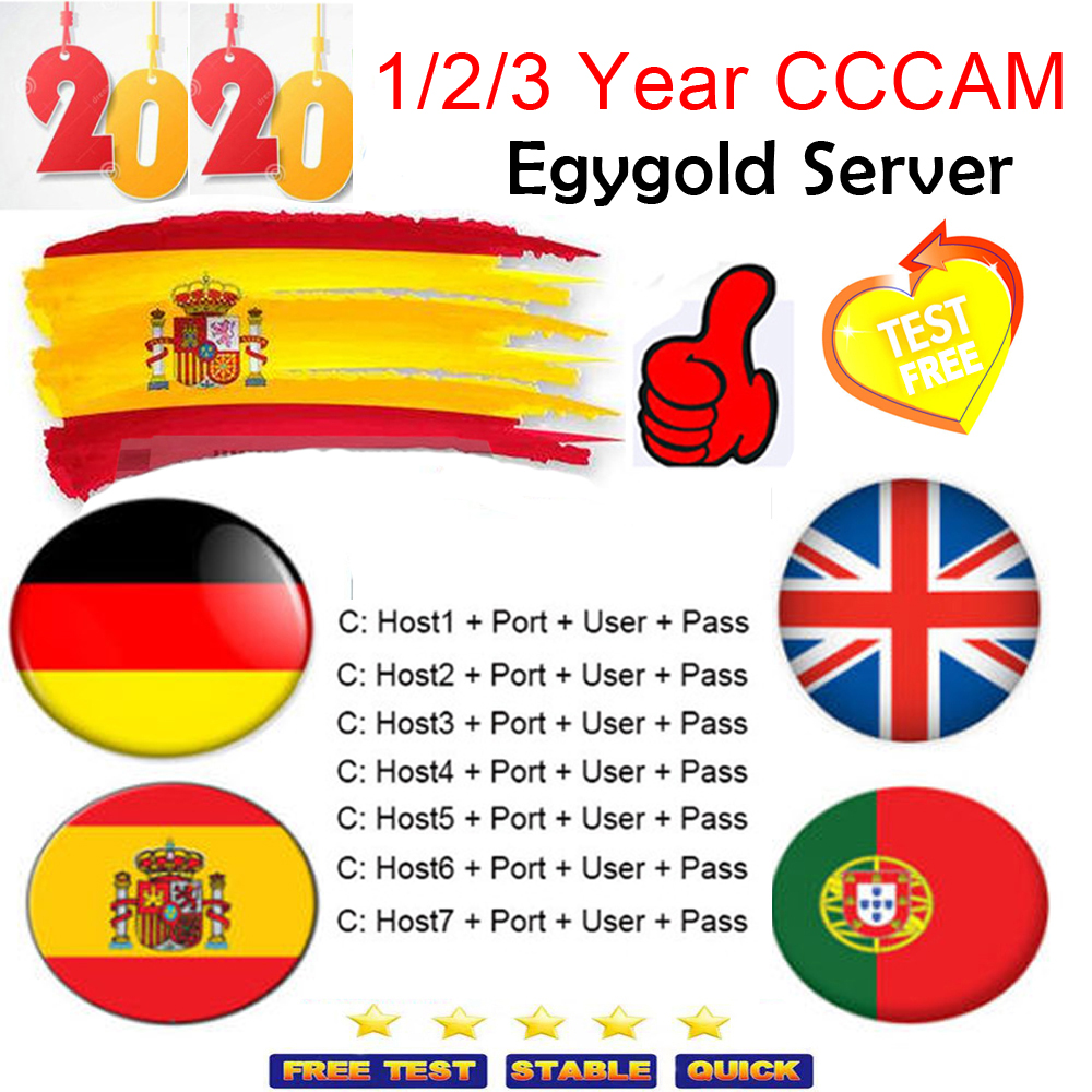 2020 7 Lines Europe Cccam Cline 1/2/3 Year Oscam Cline Cccams HD AV Cable For Satellite TV Receiver DVB-S2 Spain Europe Channels
