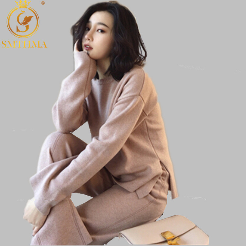 SMTHMA Autumn And Winter Knitting Sweater Pant Suit For Women Two Piece Set Knitted Pullover Long Sleeve Top Wide Leg Pants Suit