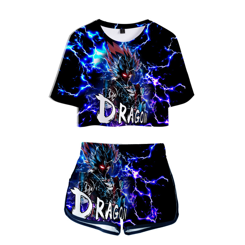 Dragon Ball Outfit Two Piece <font><b>Short</b></font> Set For Women Outfits 2019 2 Piece Set Women <font><b>Sexy</b></font> Sweatsuit Summer Tops <font><b>Ensemble</b></font> <font><b>Femme</b></font> image
