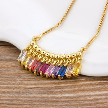 Hot Sale CZ Rainbow Necklace Stone for Woman Multicolored Necklace Pendants Fashion Colorful Long Chain Necklace Jewelry(China)