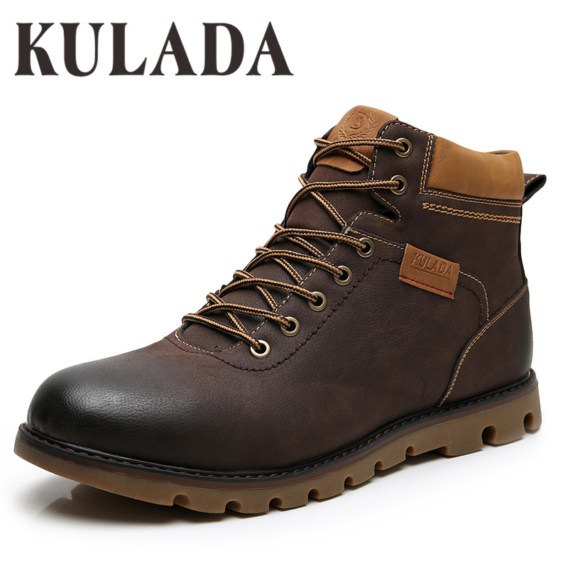 KULADA Boots Men Winter Shoes Super Warm High Quality Leather Shoes Leisure Skid  Boots Retro Men Lace Up Sneaker Casual Boots