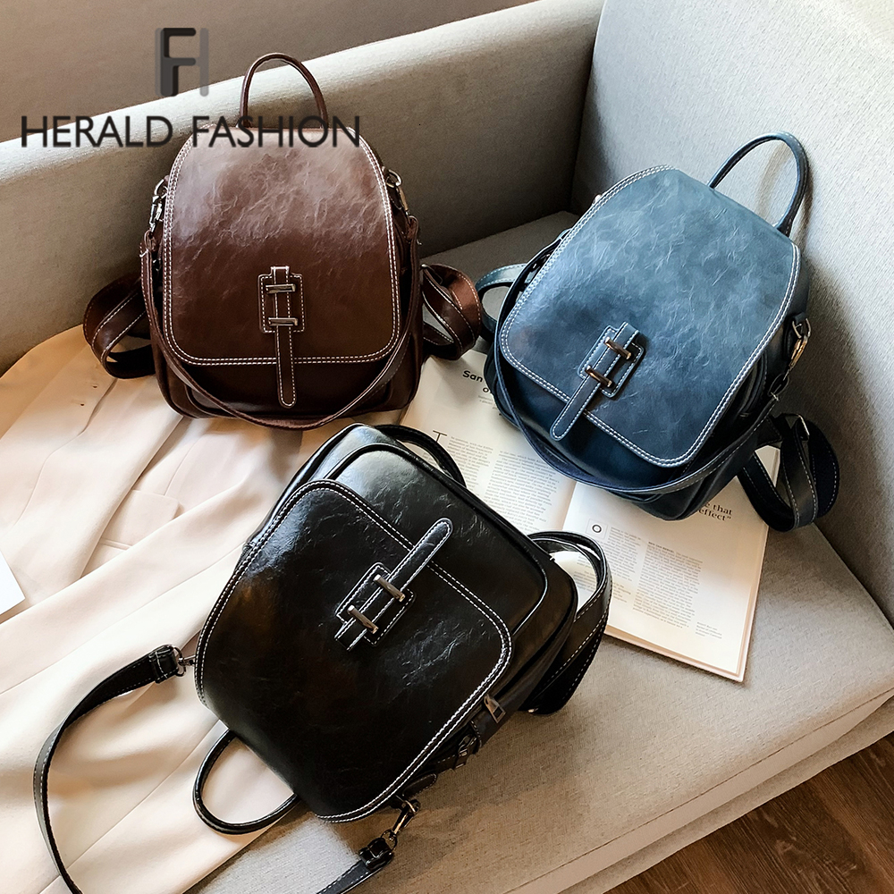 Herald Fashion Small Backpack For Teenage Girls Casual High Quality Leather Shoulder Bag Women 2019 Mini Bagpack Brand New