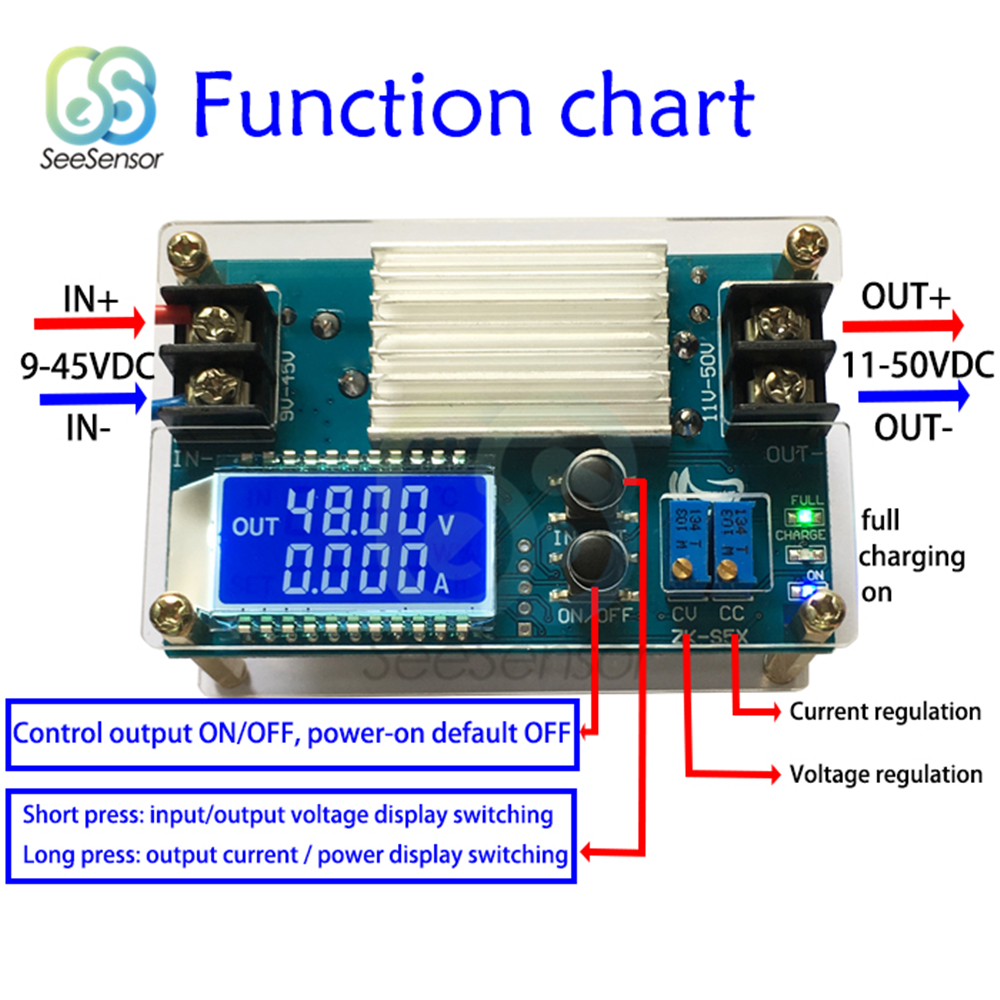 DC DC Boost Converter CC CV Constant Voltage Constant Current Power Supply Module 9-45V 5A Adjustable Regulated Power Supply