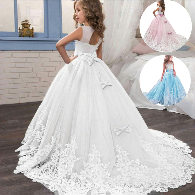2021 Summer Girls Dress Long Bridesmaid Kids Dresses For Girls Children Princess Dress Party Wedding Dress 3 10 12 Years Vestido