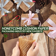Kraft Wrapping Paper Honeycomb Cushioning Wrap Roll Diy Decorative Gift Packing Material Wedding Birthday Party Packaging Paper
