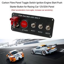 Carbon Fiber 3 Toggle Switch 12V/20A Panel Switching Start Push Race Car Engine Push Set Engine Start Set For Racing Car(China)