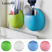 newest new toothbrush holder bathroom kitchen family toothbrush double cups rack wall stand hook cups organizer Plastic Toothbrush Holder Organizer Bathroom Accessories Wall Suction Cups  Storage Box Kitchen Sucker Hooks Home 1Set