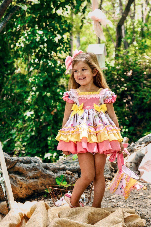 4PCS Summer Baby Girl Vintage Spanish Yellow Balloon Dress Gown Ball Princess Print Dress Lolita Birthday