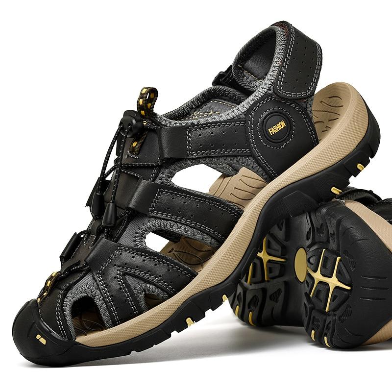 Genuine Leather Hiking Sandals Men Waterproof Trekking Mountain Climbing Shoes Sneakers Man Plus Size 48 Sport Aqua Trails Shoes