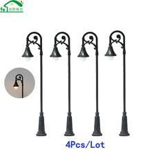 4Pcs/Lot 3 Voltage LED Scale Model Street Lamp Miniature 75mm 55mm Garden Courtyard Landscape Scenery Light Warm Iron Pipe