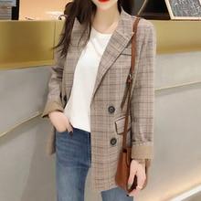 chic vintage plaid double button blazer jacket for woman long-sleeve notch collar pocket jacket office ladies 2019 autumn new недорого