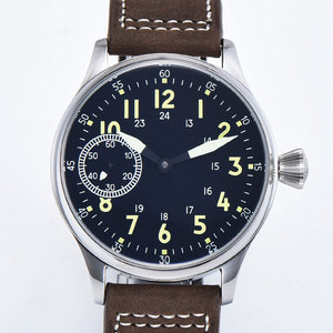 Image 4 - Sterile 44mm Sterile Black Dial  Luminous 6497 Hand Winding ST3600 Movement mechanical wristwatches sapphire crystal 316L SS