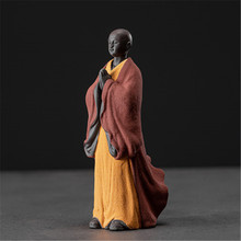Kung fu tray accessories standing buddhas figures colorful white porcelain  monk figurines tea pet home decoration