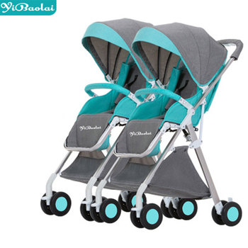 цена Twin Baby Stroller Detachable Can Sit Reclining Two-way Lightweight Folding Double Stroller Twin Tricycle  Strollers for Kids онлайн в 2017 году