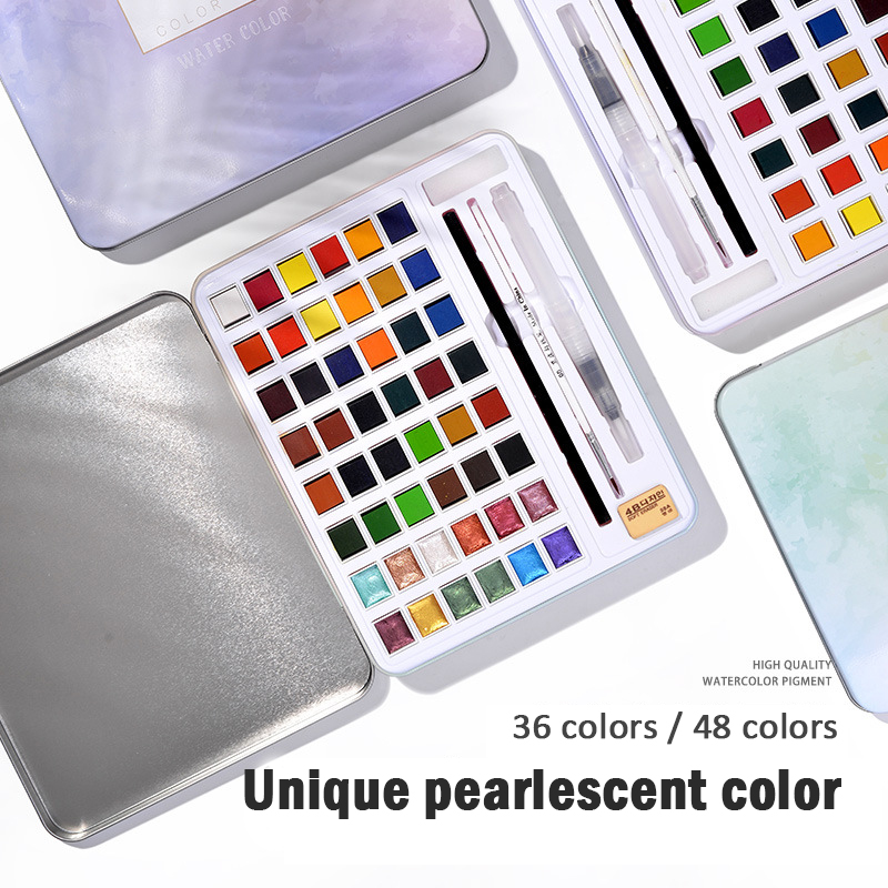 48Colors Glitter Solid Watercolor Paint Set Not-toxic With Portable Metal Case Palette Paint Brush Pen For Painting Art Supplies